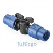 Llave de paso para tubo y cinta riego por goteo fitting ambos extremos Ø 16 mm