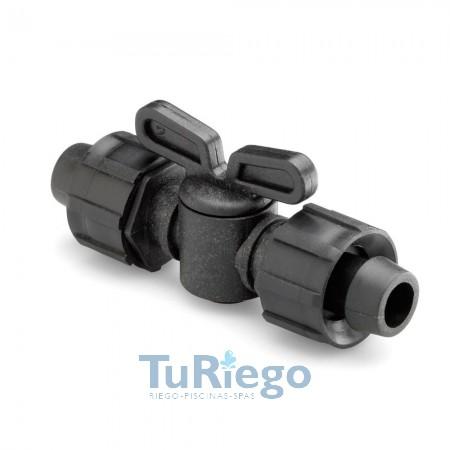 Llave de paso para tubo y cinta riego por goteo superroscado ambos lados Ø 16 mm.