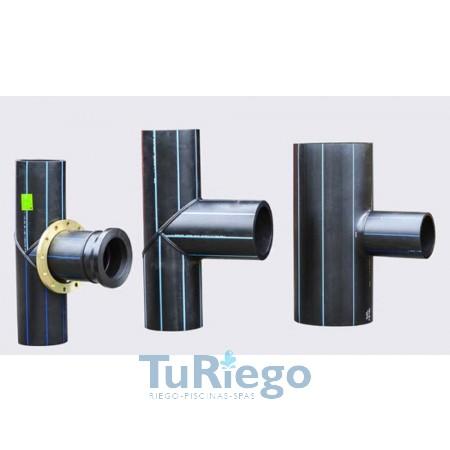 Tes reducida PE manipulada para presión PN-10 de 75/63 mm. CONSULTAR PRECIO PARA MEDIDAS SUPERIORES