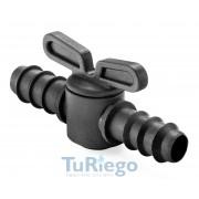 Llave de paso SIMPLE para tubo y cinta riego por goteo espiga x espiga de Ø 12 mm